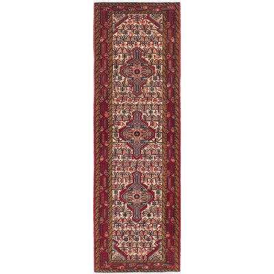 One-of-a-Kind Koliai Hand-Knotted Beige/Red Area Rug