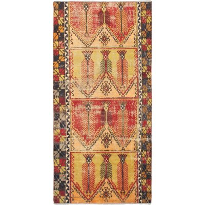One-of-a-Kind Melis Hand-Knotted Light Gold/Red Area Rug