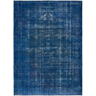 Hand-Knotted Dark Blue Area Rug