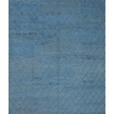 Mystique Hand-Knotted Dark Baby Blue Area Rug