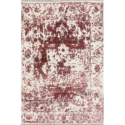 One-of-a-Kind Grasty Hand-Knotted Cream/Dark Red Area Rug
