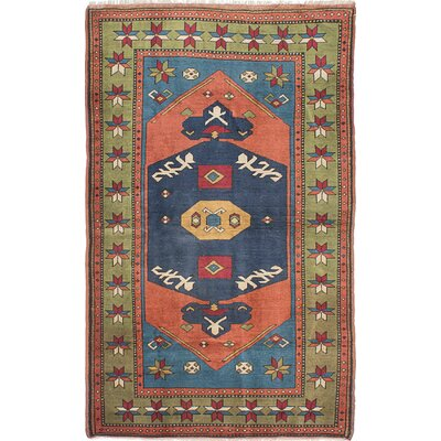Shiravan Hand-Knotted Copper/Navy Blue Area Rug