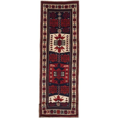 Shiravan Hand-Knotted Dark Navy Blue/Dark Red Area Rug