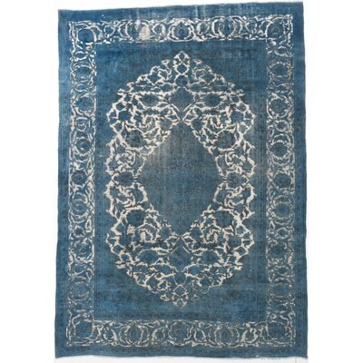 Hand-Knotted Turquoise Area Rug