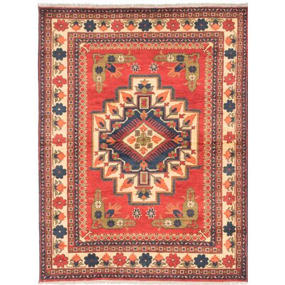 Kargahi Hand-Knotted Red/Blue Area Rug