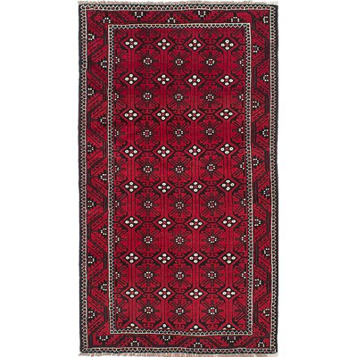 One-of-a-Kind Baluch Hand-Knotted Red Area Rug