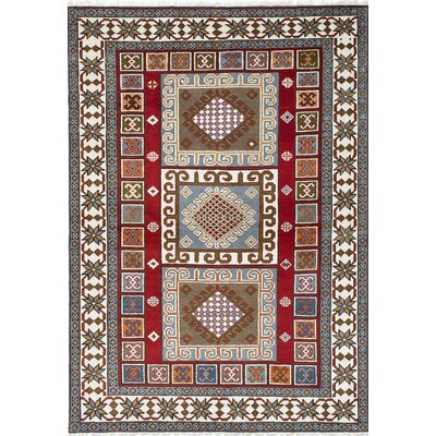 One-of-a-Kind Berkshire Hand-Knotted Gray/Red Area Rug