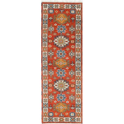Royal Kazak Hand-Knotted Orange/Blue Area Rug