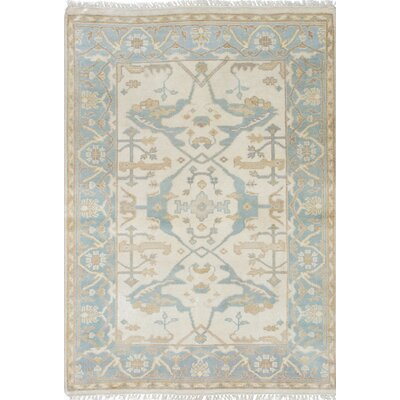 Royal Ushak Hand-Knotted Blue/Beige Area Rug