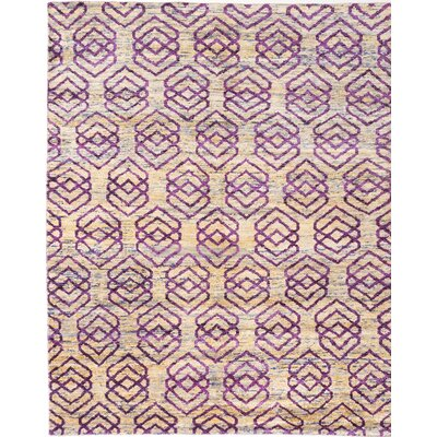 One-of-a-Kind Hand-Knotted Beige/Purple Area Rug