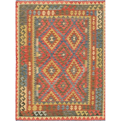 Anatolian Flat-Woven Wool Red/Blue Area Rug