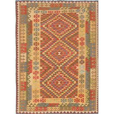 Anatolian Flat-Woven Yellow/Red Area Rug
