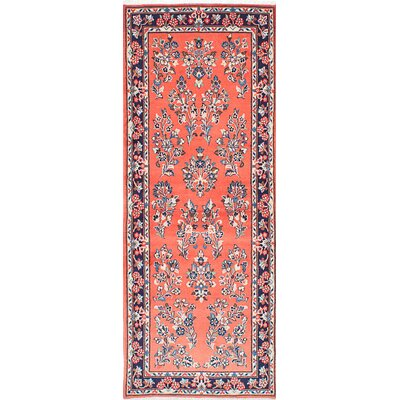 Sarough Hand-Knotted Orange/Blue Area Rug