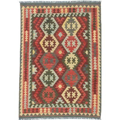 Olmsted Flat Woven Red / Yellow Area Rug