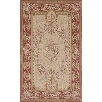 One-of-a-Kind Hand-Knotted Red/Beige Area Rug