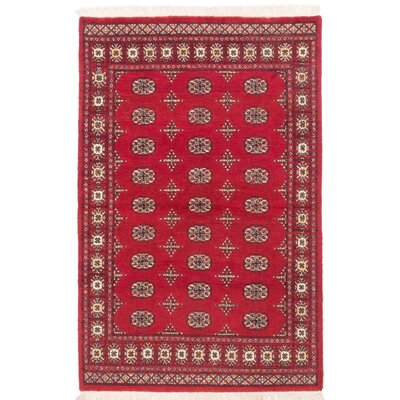 One-of-a-Kind Peshawar Bokhara Handmade Red Area Rug