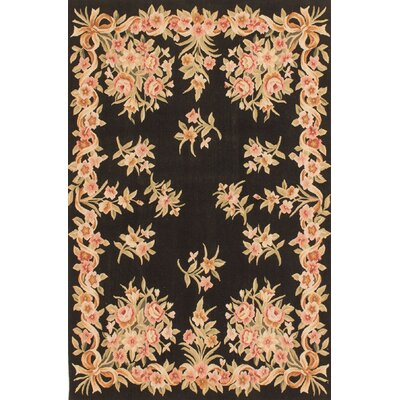 One-of-a-Kind Hand-Knotted Black / Beige Area Rug