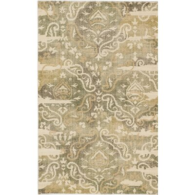 One-of-a-Kind Reasor Hand-Knotted Green/Beige Area Rug