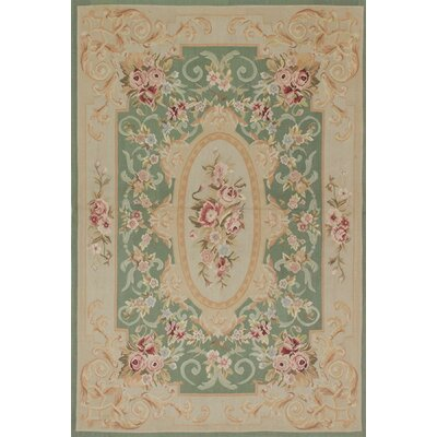 Hand-Knotted Green/Beige Area Rug