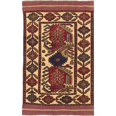 Tajik Tribal Hand-Knotted Beige/Blue Area Rug