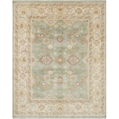 One-of-a-Kind Royal Ushak Handmade Green Area Rug