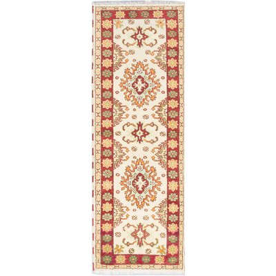 One-of-a-Kind Kazak Hand-Knotted Beige/Red Area Rug
