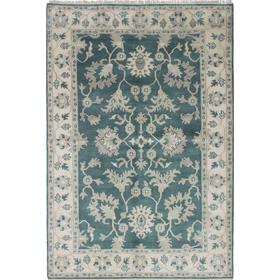 One-of-a-Kind Li Handmade Green / Ivory Area Rug