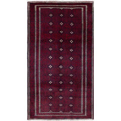 One-of-a-Kind Baluch Hand-Knotted Black/Red Area Rug