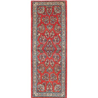 One-of-a-Kind Sarough Hand-Knotted Red/Blue/Beige Area Rug