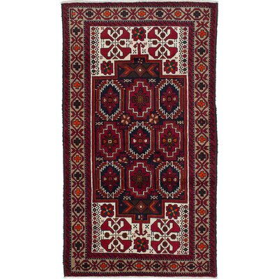 Baluch Hand-Knotted Red/Beige Area Rug