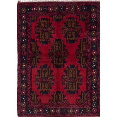 Baluch Hand-Knotted Black/Red Area Rug