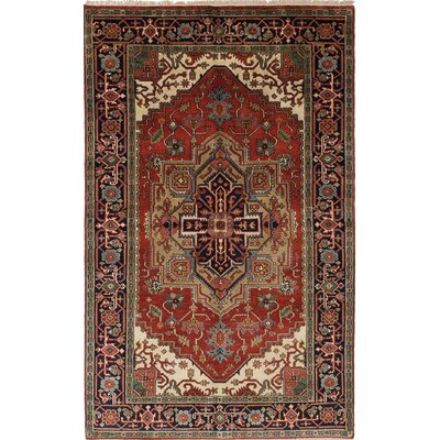 One-of-a-Kind Baldry Hand-Knotted Red/Beige Area Rug