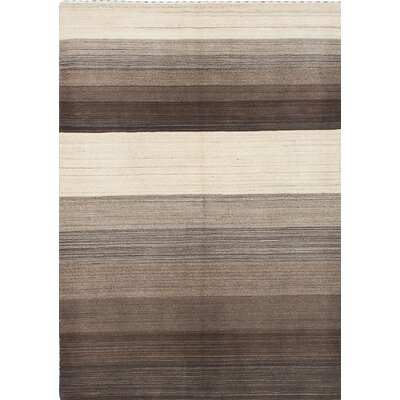 Luribaft Gabbeh Riz Hand-Knotted Brown/Beige Area Rug