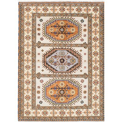 Royal Kazak Hand-Knotted Beige Area Rug