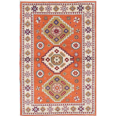 Royal Kazak Hand-Knotted Orange/Beige Area Rug