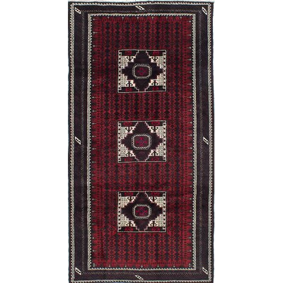 Baluch Hand-Knotted Red Area Rug