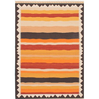 Barnett Handmade Rectangle Orange/Beige Area Rug
