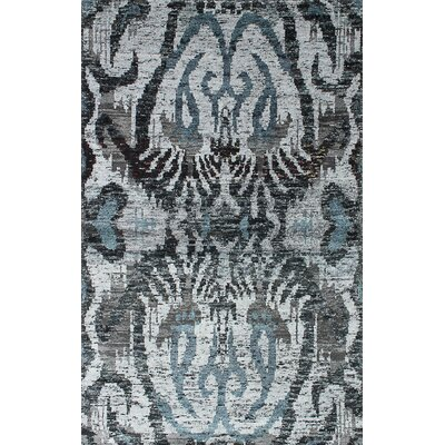 One-of-a-Kind Sari Hand-Knotted Gray/Black Area Rug