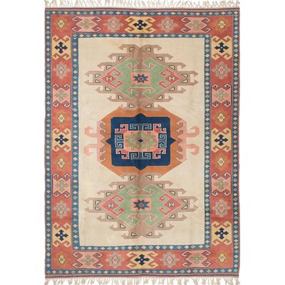 One-of-a-Kind Biddlesden Hand-Knotted Rectangle Cream Area Rug