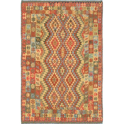 Hereke Hand-Woven Orange/Red Area Rug