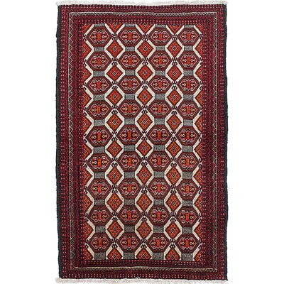 One-of-a-Kind Finest Baluch Hand-Knotted Cream/Orange Area Rug