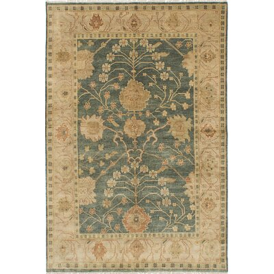 One-of-a-Kind Royal Ushak Hand-Knotted Green/Khaki Area Rug
