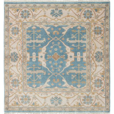 Royal Ushak Hand-Knotted Turquoise/Cream Area Rug