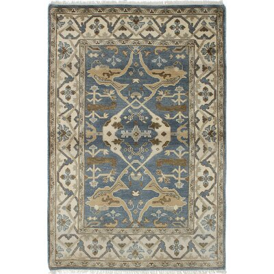 One-of-a-Kind Royal Ushak Hand-Knotted Blue Area Rug