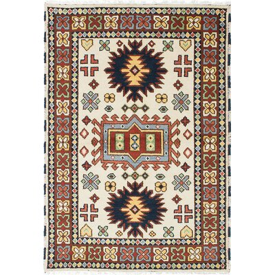 Royal Kazak Hand-Knotted Cream/Orange Area Rug