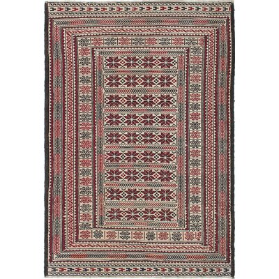 Shiravan Hand-Woven Cream/Red Area Rug