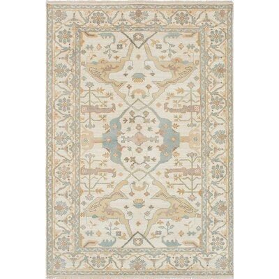 One-of-a-Kind Royal Ushak Hand-Knotted Blue/Cream Area Rug