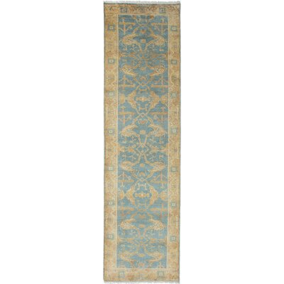 Royal Ushak Hand-Knotted Blue Area Rug Rug Size: Runner 27 x 910