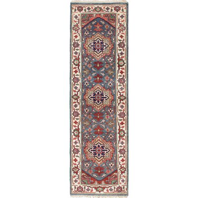 Serapi Heritage Hand-Knotted Cream/Turquoise Area Rug