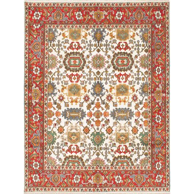 Baldry Hand-Knotted Cream/Red Area Rug